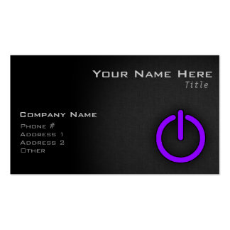 Violet Purple Power Button Pack Of Standard Business Cards