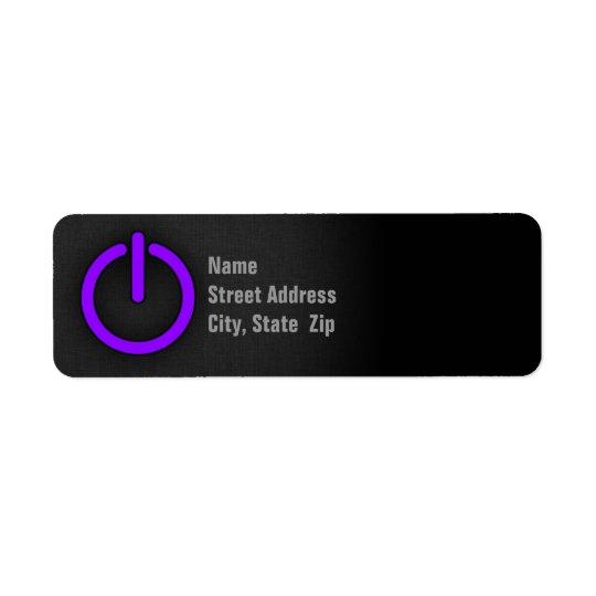 Violet Purple Power Button Return Address Label