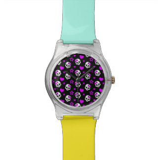 Violet Purple Punk Rock Skulls Watch