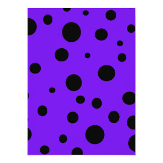 Violet Purple with Black Polka Dots Products 14 Cm X 19 Cm Invitation Card