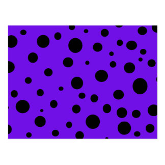 Violet Purple with Black Polka Dots Products Postcard