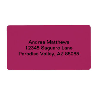 Violet Red Solid Color Shipping Label