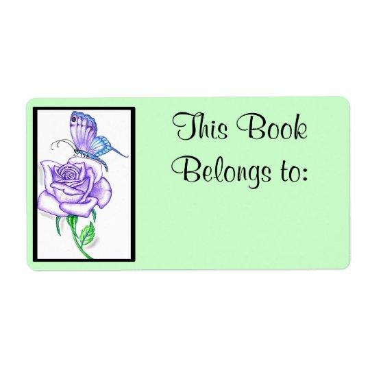 Violet Rose Book Ownership Label Shipping Label