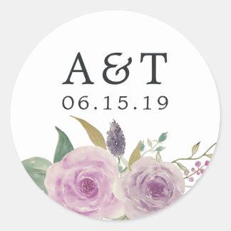 Violet & Sage Wedding Monogram Classic Round Sticker