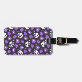 Violet Skulls and Flowers Luggage Tag