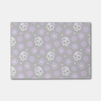 Violet Skulls and Flowers Post-it Notes