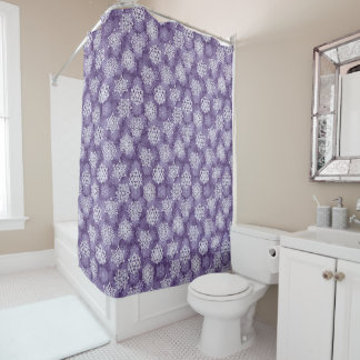 Violet Snowflakes Pattern Shower Curtain