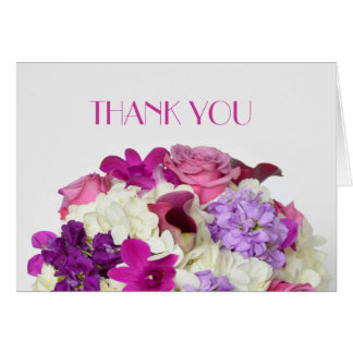 Violet Spring Bouquet Thank you Greeting Card