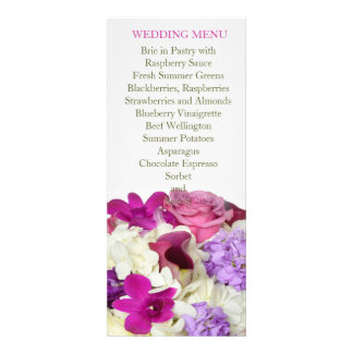 Violet Spring Bouquet Wedding Menu Personalized Invitations