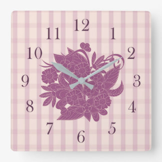 violet square pattern with floral bouquet square wall clock
