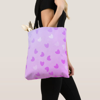 Violet stock market hearts degraded tote bag