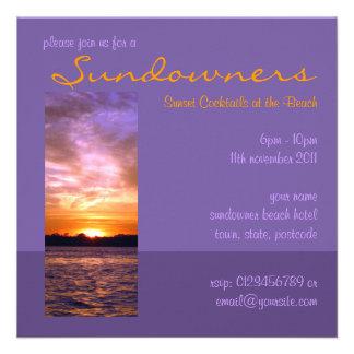 Violet Sunset Beach Party Invitation