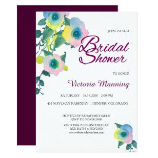 Violet Sweet Pea Floral Bridal Shower Card