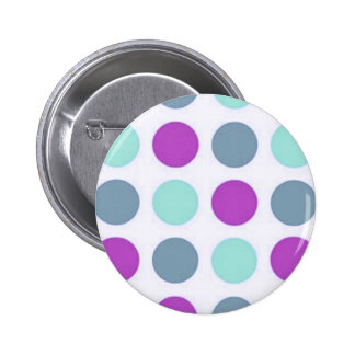 Violet Teal Polkadots 6 Cm Round Badge
