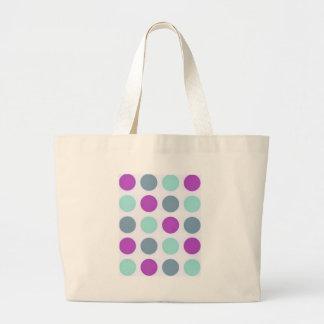 Violet Teal Polkadots Canvas Bag