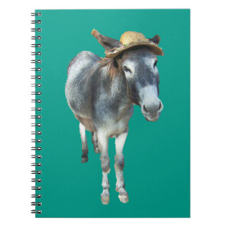 Violet the Donkey in Straw Hat with Flowers Notebook