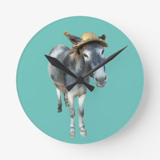 Violet the Donkey in Straw Hat with Flowers Round Clock