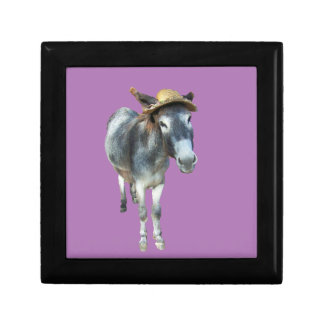 Violet the Donkey in Straw Hat with Flowers Small Square Gift Box