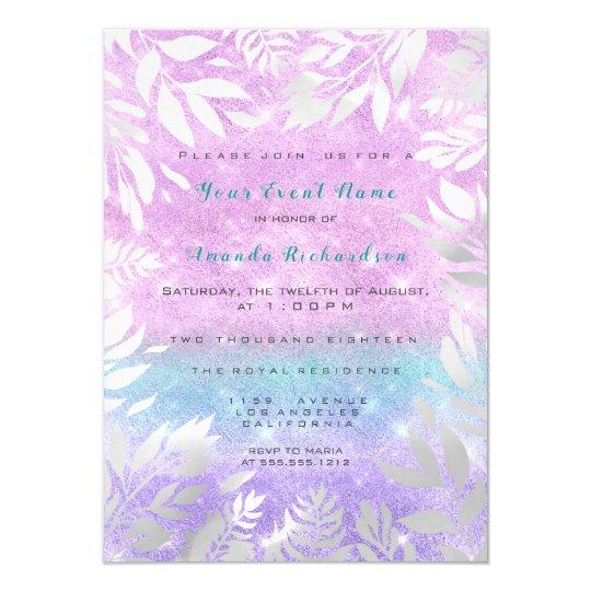 Violet Tiffany Glitter Ombre Floral Sparkly Bride Card