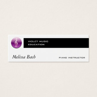 Violet Treble Clef Button Mini Business Card