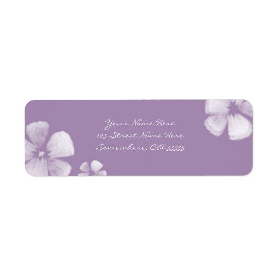 Violet Tropical Watercolor Flowers Address Labels