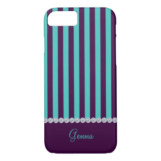 violet & turquoise vertical stripes with diamonds iPhone 7 case