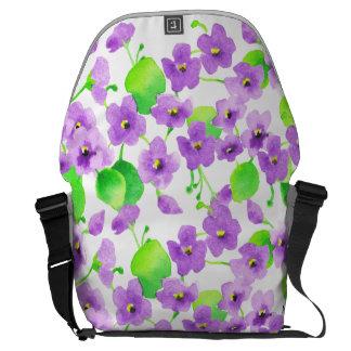 Violet watercolor Decorative Flower Pretty Classic Commuter Bag