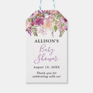 Violet Watercolor Floral Baby Shower Gift Tags