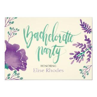 Violet watercolor floral garden bachelorette party card