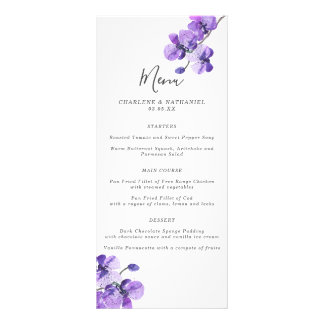 Violet Watercolor Orchid Wedding Menu
