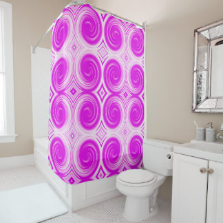 Violet White Abstract Swirl Pattern Shower Curtain