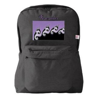 Violet, white and black fractal. backpack