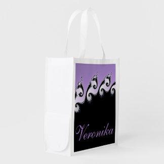 Violet, white and black fractal. reusable grocery bag