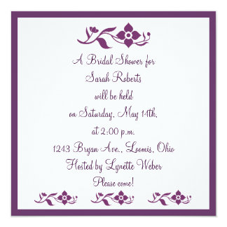 "Violet White Floral Bridal Shower Invitation 5.25"" Square Invitation Card"