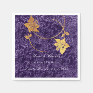 Violet Wreath Gold Floral Velvet Bridal Wedding Disposable Serviette