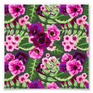 Violet X Pink Flowers Pattern Photo Print