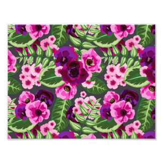 Violet X Pink Flowers Pattern Photographic Print