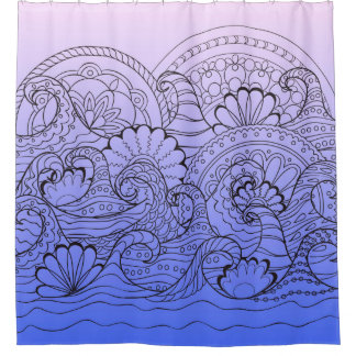 violet zen waves shower curtain