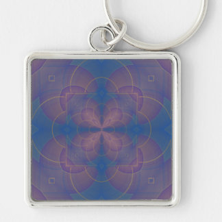 Violeta Kaleidoscope Mandala Silver-Colored Square Key Ring