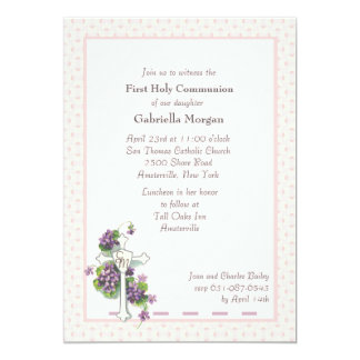 Violets and Cross Religious Invitation