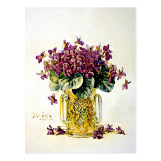 Violets - Delicate Purple Flowers in a Vase Postcard