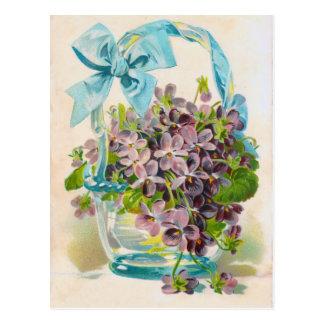Violets in a Glass Basket Postcard