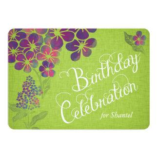 Violets on Green Linen Custom Birthday Invite