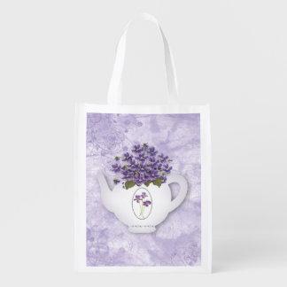 Violets Teapot Reusable Bag