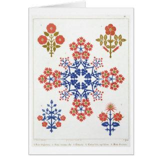 Violiet, iris and tulip motif wallpaper design, pr card