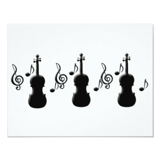 "Violin and Music Notes 4.25"" X 5.5"" Invitation Card"