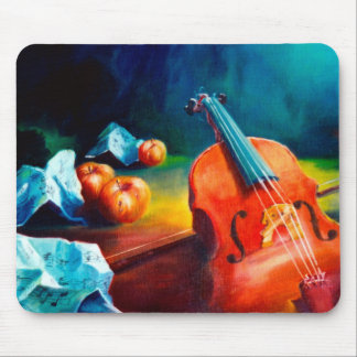 Violin and Notes Painting Mousepad