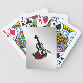 Violin and Roses Silver Bicycle Playing Cards
