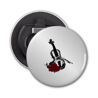 Violin and Roses Silver Bottle Opener