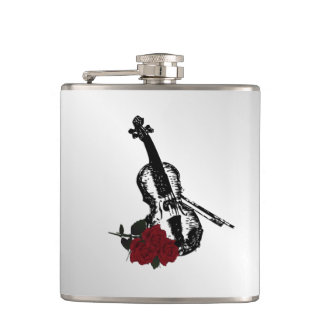 Violin and Roses Silver Hip Flask